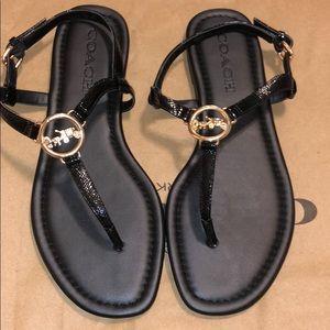 100% Authentic Coach Black Patent Leather Sandals